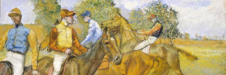 Before the Race (detail), c. 1887-1889. Edgar Degas (French, 1834-1917). Pastel on tracing paper mounted to cardboard; 57.5 x 65.4 cm. Bequest of Leonard C. Hanna Jr. 1958.27