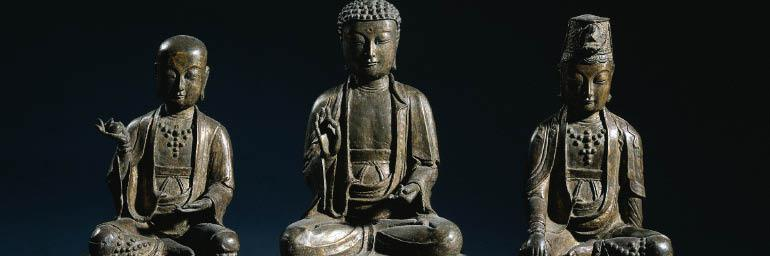 Amita (Amitabha) Triad (detail), 1400s. Korea, Joseon dynasty (1392-1910). Bronze with traces of gilding; 40.6 x 16.5 x 54.6 cm. Worcester R. Warner Collection 1918.501