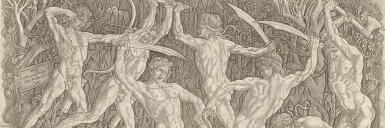 Battle of the Nudes (detail), c. 1470–75. Antonio del Pollaiuolo (Italian, 1431/32-1498). Engraving; 42.4 x 60.9 cm. Purchase from the J. H. Wade Fund 1967.127