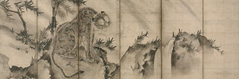 Tiger (detail), 1500s. Shukei Sesson (Japanese, 1504–1589). Pair of six-fold screens, ink on paper; 168.7 x 350.4 cm. Purchase from the J. H. Wade Fund 1959.136.2
