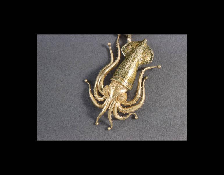 Squid Pendant Brooch, 1959. John Paul Miller (American, b. 1918). Gold, enamel. Collection of Charles S. Tramontana © John Paul Miller