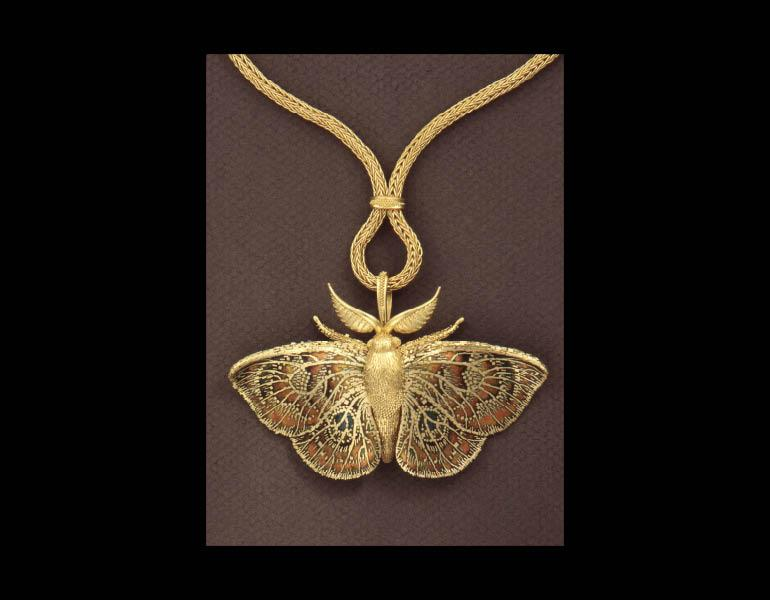 Moth Pendant Brooch, 1994. John Paul Miller (American, b. 1918). Gold, enamel. Collection of Barbara S. Robinson © John Paul Miller