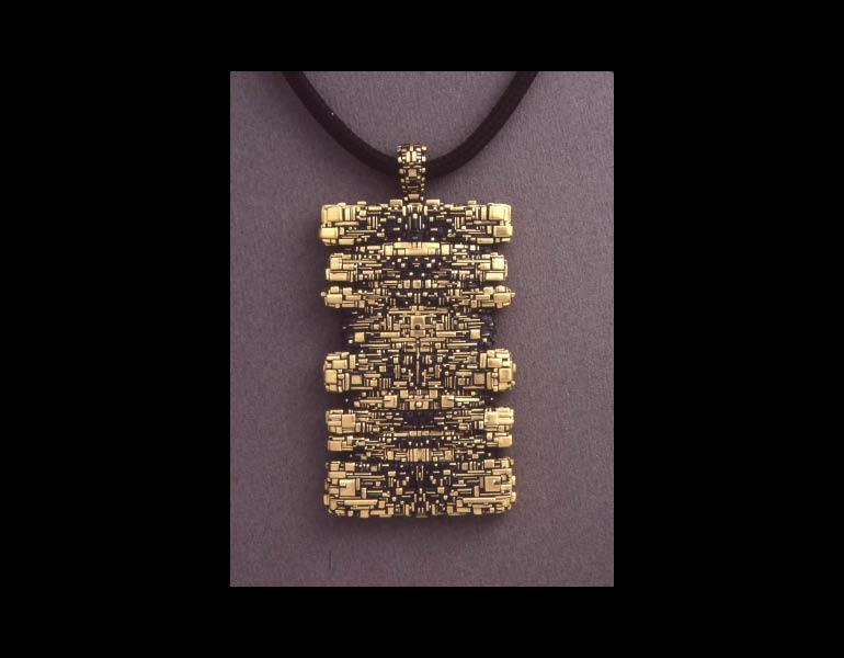 Talisman Necklace, 1985. John Paul Miller (American, b. 1918). Gold, silk. Collection of Mrs. Scott R. Inkley © John Paul Miller