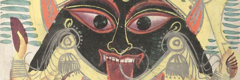 Kali (detail), 1800s. India, Calcutta. Black ink, color and silver paint on paper; 45.9 x 28 cm (painting). Gift of William E. Ward in memory of his wife, Evelyn Svec Ward 2003.110.a