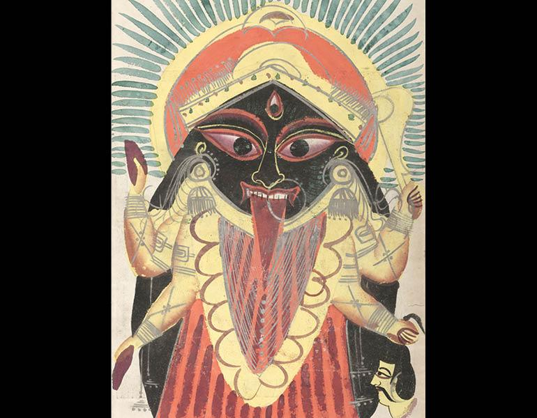 Kali, 1800s. India, Calcutta. Black ink, color and silver paint on paper; 45.9 x 28 cm (painting). Gift of William E. Ward in memory of his wife, Evelyn Svec Ward 2003.110.a