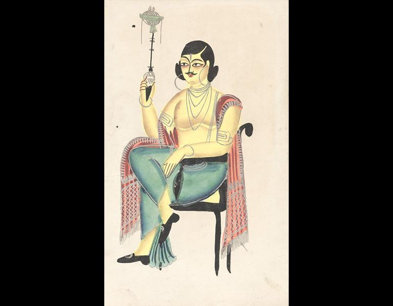 "Calcutta ""Man about Town"" Smoking a Margela Pipe, 1800s. India, Calcutta. Black ink, color and silver paint, and graphite underdrawing on paper; 45.7 x 28 cm (painting). Gift of William E. Ward in memory of his wife, Evelyn Svec Ward 2003.145"
