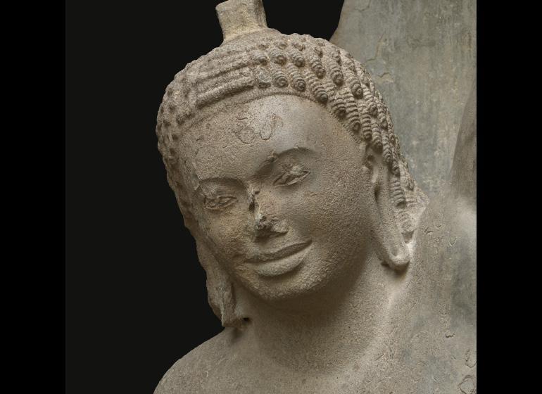 Face of sandstone sculpture