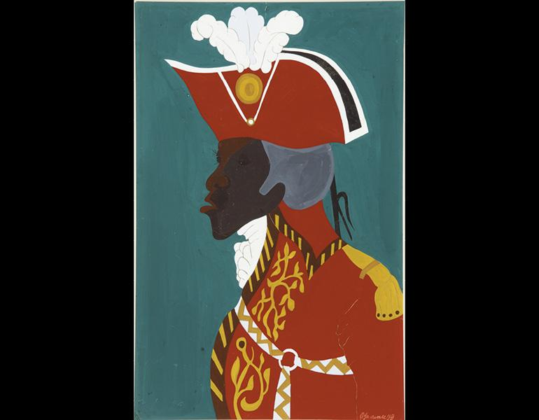 The Life of Toussaint L'Ouverture, No. 20: General Toussaint L'Ouverture, Statesman and military genius, esteemed by the Spaniards, feared by the English, dreaded by the French, hated by the planters, and reverenced by the Blacks, 1938. Jacob Lawrence (Am