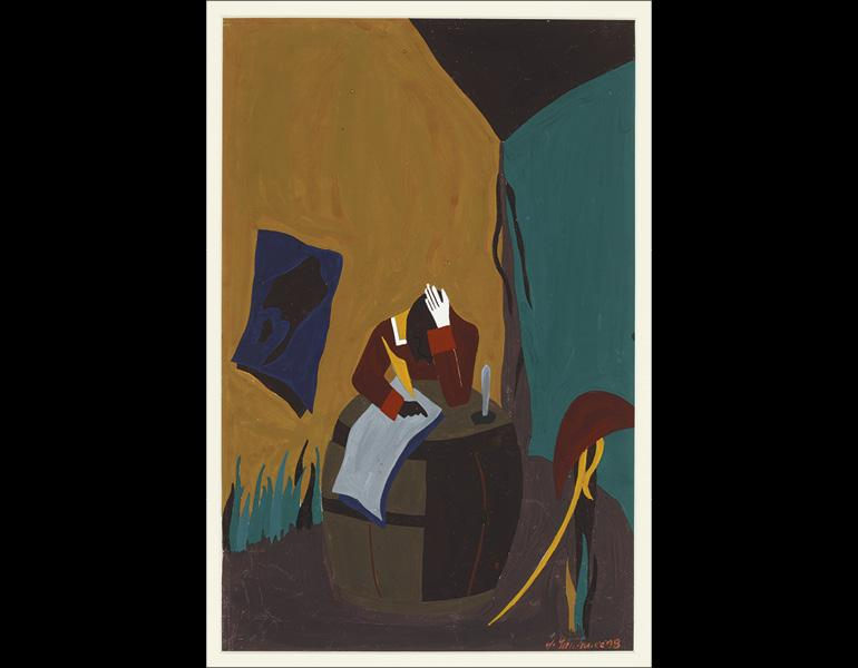 The Life of Toussaint L'Ouverture, No. 22: Settling down at St. Marc, he took possession of two important posts, 1938. Jacob Lawrence (American, 1917–2000). Tempera on paper; 19 x 11 1/2 in. Courtesy Amistad Research Center, Tulane University, New Orleans