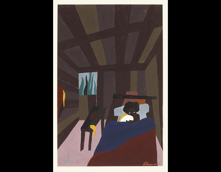 The Life of Toussaint L'Ouverture, No. 6: The birth of Toussaint L'Ouverture, May 20, 1743. Both of Toussaint's parents were slaves, 1938. Jacob Lawrence (American, 1917–2000). Tempera on paper; 19 x 11 1/2 in. Courtesy Amistad Research Center, Tulane Uni