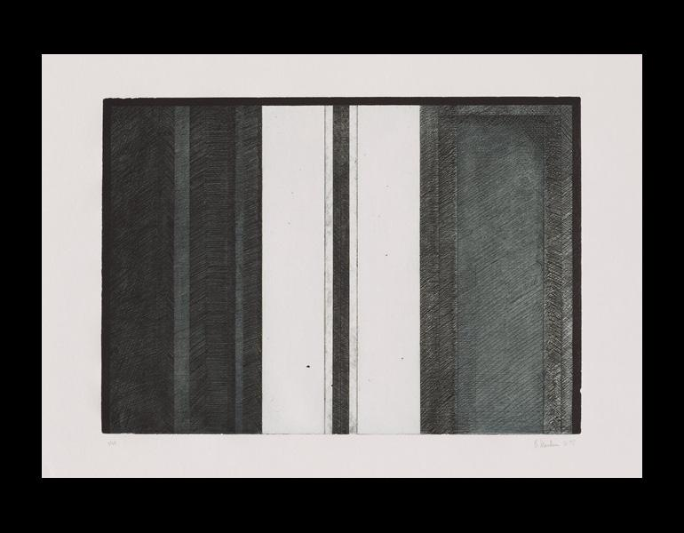 Five Threes, 1976–77. Brice Marden (American, b. 1938). Etching and aquatint; 91.4 x 106.7 cm. The Cleveland Museum of Art, Mr. and Mrs. Richard W. Whitehall Art Purchase Endowment Fund 1996.23.1. © 2013 Brice Marden / Artists Rights Society (ARS), NY.
