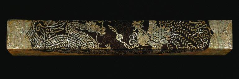 Scroll Box with Dragon and Phoenix Design , late 18th Century. Korea, Joseon Period (1392–1910). Lacquered wood with mother-of-pearl, twisted brass and copper wire; 11.5 x 11.7 x 87 cm. Severance and Greta Millikin Collection 1990.15