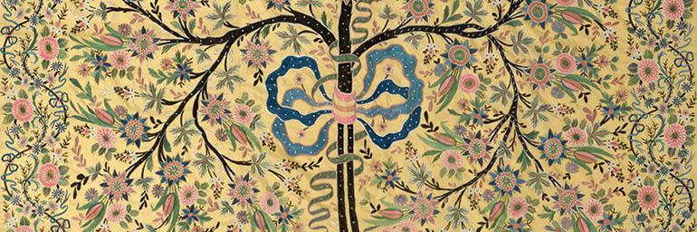 Silk Hanging with Embroidered Tree of Life (detail), 1850–1900. Turkey, Ottoman period. Silk; plain weave, embroidery; 228.6 x 172.7 cm. Gift of Mr. and Mrs. J. H. Wade 1916.1358