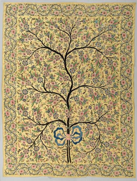 Silk Hanging with Embroidered Tree of Life, 1850–1900. Turkey, Ottoman period. Silk; plain weave, embroidery; 228.6 x 172.7 cm. Gift of Mr. and Mrs. J. H. Wade 1916.1358