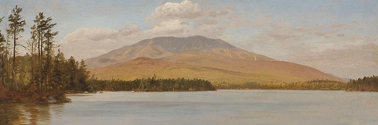 Mount Katahdin from Upper Togue Lake (detail), c. 1877–78. Frederic Edwin Church (American, 1826–1900). Oil on academy board; 21.6 x 50.8 cm. Olana State Historic Site, Hudson, NY, Office of Parks, Recreation and Historic Preservation OL.1981.70.
