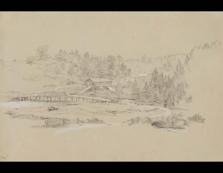 Lumber Mill, Mount Desert Island, c. July–August 1850. Frederic Edwin Church (American, 1826–1900). Graphite, gouache, and chalk on gray-green paper; 26 x 38.1 cm. Olana State Historic Site, Hudson, NY, Office of Parks, Recreation and Historic Preservatio