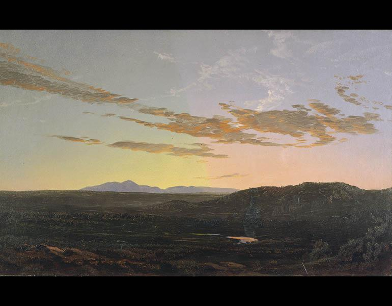 Sunset, c. 1856–65. Frederic Edwin Church (American, 1826–1900). Oil on paper mounted on ragboard and panel; 29.5 x 46.4 cm. Olana State Historic Site, Hudson, NY, Office of Parks, Recreation and Historic Preservation OL.1980.1633.