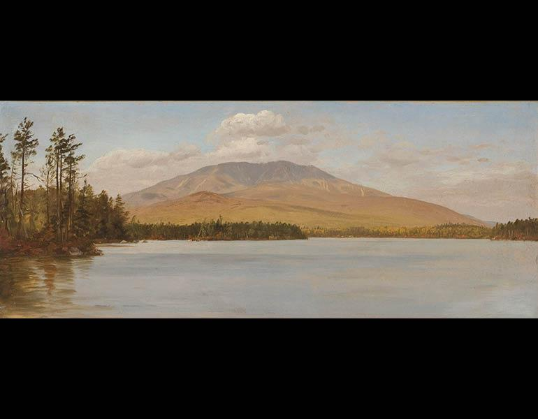 Mount Katahdin from Upper Togue Lake, c. 1877–78. Frederic Edwin Church (American, 1826–1900). Oil on academy board; 21.6 x 50.8 cm. Olana State Historic Site, Hudson, NY, Office of Parks, Recreation and Historic Preservation OL.1981.70.