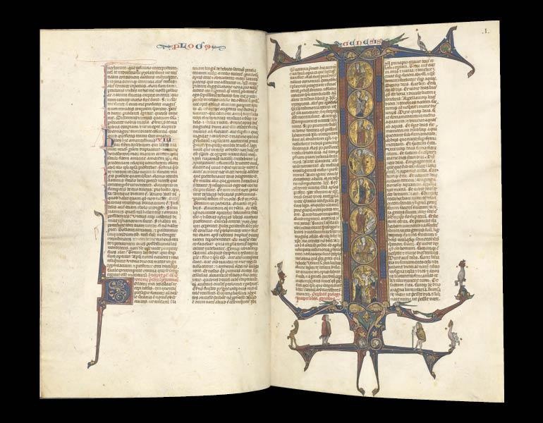 Gothic Bible (Vulgate), ca. 1275–1300. Opening: Initial I (Book of Genesis). Southern France, Toulouse?. Bound illuminated manuscript in Latin; brown morocco binding; ink, tempera, and gold on vellum; 533 leaves. John L. Severance Fund 2008.2