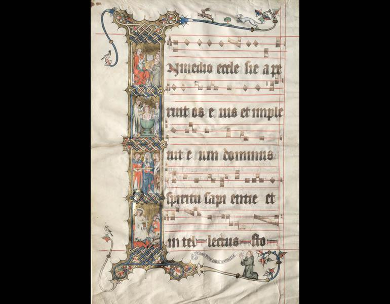 Historiated Initial I with Scenes from the Life of Saint Augustine: Single Leaf from the Wettinger Gradual, ca. 1330. Willehalm Master and the Younger Gradual Master (German, Cologne). Tempera and gold on vellum. Mr. and Mrs. William H. Marlatt Fund 1949.203
