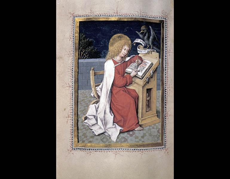 Evangelary with Evangelist Portraits, about 1480. Opening: Saint John the Evangelist. Miniatures by the Hausbuch Master (German, Middle Rhine). Ink, tempera, and gold on vellum; original blind stamped leather binding. Mr. and Mrs. William H. Marlatt Fund 1952.465