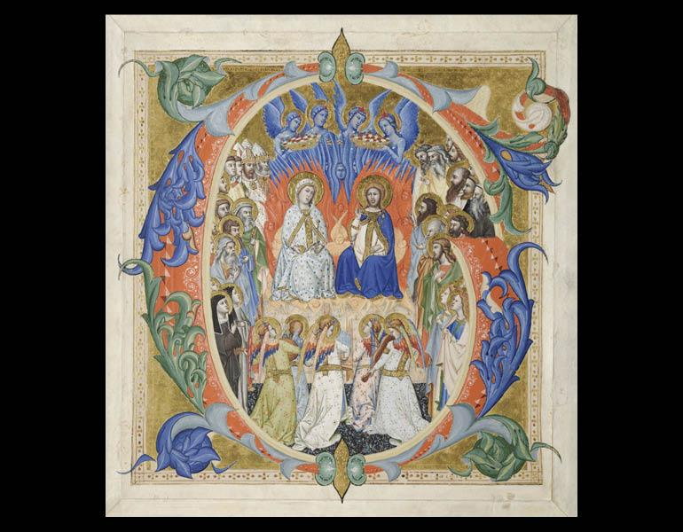 Initial G[audeamus omnes] from a Gradual: Christ, Virgin, and Saints, about 1370–77. Don Silvestro dei Gherarducci (Italian, Florence, 1339–1399). Ink, tempera, and gold on vellum. Purchase from the J. H. Wade Fund 1930.105
