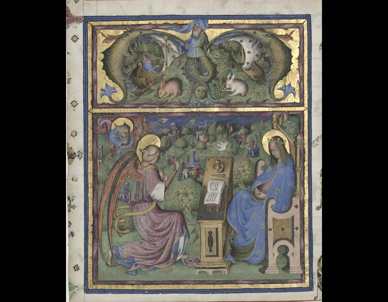 Initial M[issus est]Excised from an Antiphonary: The Annunciation, about 1440–50. Stefano da Verona (Italian, Lombardy, active about 1375–1438). Tempera and gold on vellum. Gift of J. H. Wade 1924.431