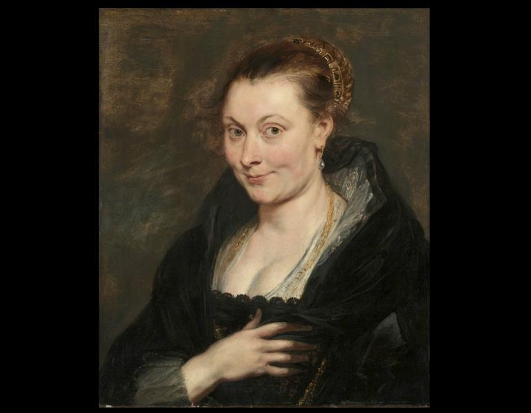 Peter Paul Rubens (Flemish, 1577-1640). Isabella Brant, c. 1620-1625. Painting; oil on wood; 83.0 x 73.5 x 9.0 cm. Mr. & Mrs. William H. Marlatt Fund 1947.207
