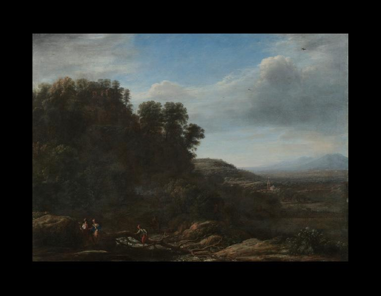 Claude Lorrain (French, 1604-1682). Italian Landscape, c. 1630. Painting; oil on canvas; 126.5 x 162.5 x 5.0 cm. Mr. & Mrs. William H. Marlatt Fund 1946.73