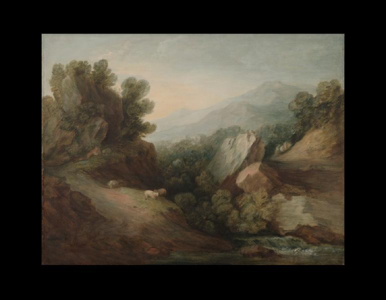 Thomas Gainsborough (British, 1727-1788). Rocky, Wooded Landscape with a Dell and Weir, c. 1782-1783. Painting; oil on canvas; 89.5 x 110.0 x 8.0 cm. Mr. & Mrs. William H. Marlatt Fund 1984.59