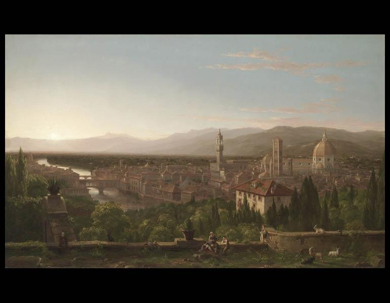 Thomas Cole (American, 1801-1848). View of Florence, 1837. Painting; oil on canvas; 118.5 x 180.0 x 8.5 cm. Mr. & Mrs. William H. Marlatt Fund 1961.39