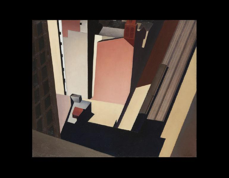 Charles Sheeler (American, 1883-1965). Church Street El, 1920. Painting; oil on canvas; 60.0 x 67.5 x 6.0 cm. Mr. & Mrs. William H. Marlatt Fund 1977.43