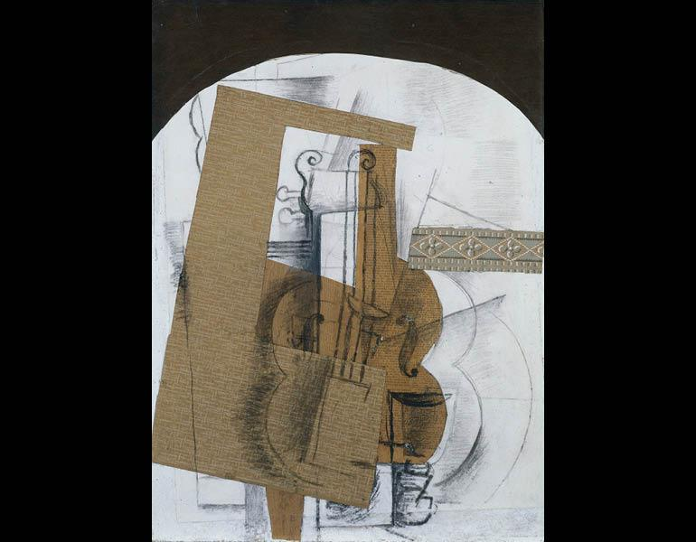 The Violin, 1914. Georges Braque (French, 1882–1963). Cut and pasted papers (newsprint block-printed or stenciled decorative paper, and faux bois), with charcoal and graphite; 71.8 x 51.8 cm (28 1/4 x 20 3/8 in.). The Cleveland Museum of Art, Leonard C. H
