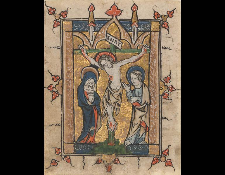 Leaf from a Psalter: The Crucifixion, about 1300–1330. Belgium, Liège. Ink, tempera, and gold on vellum; 9.4 x 7.3 cm. The Cleveland Museum of Art, The Jeanne Miles Blackburn Collection 2011.54