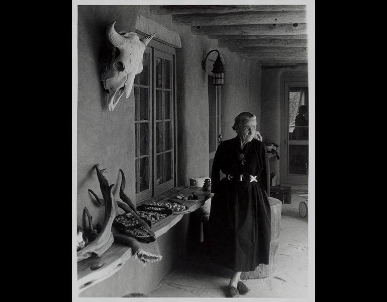 """Georgia O'Keeffe on Ghost Ranch Portal, New Mexico,"" c. 1960s. Todd Webb (American, 1905–2000). Georgia O'Keeffe Museum, Santa Fe, NM, Gift of the Georgia O'Keeffe Foundation, 2006.06.1046. © Estate of Todd Webb, Portland, ME"