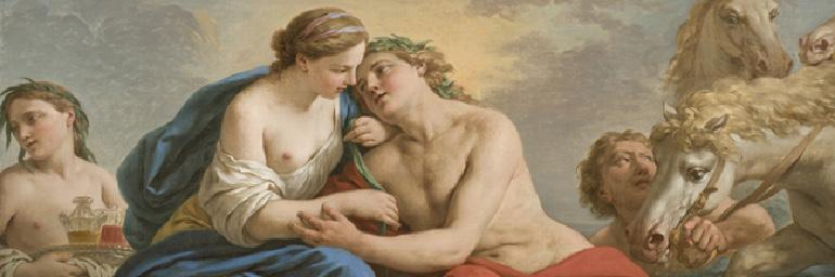 Sunset (detail), 1772. Louis Jean Françlis Lagrenée (French, 1725–1805). Oil on canvas; 75.6 x 139.1 cm. Allen Memorial Art Museum, Oberlin College, Oberlin, Ohio, Mrs. F.F. Prentiss Fund 1974.11