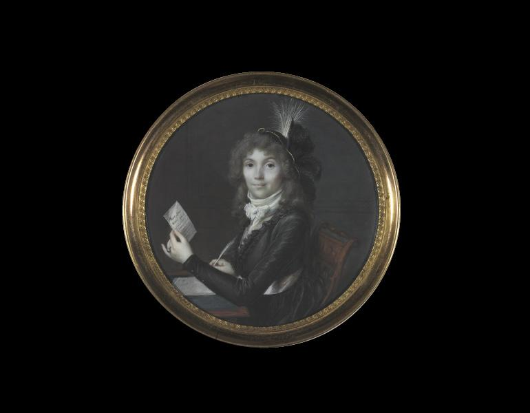 Portrait of a Lady Writing a Letter, about 1795. Frédéric Dubois (French, active 1780–1819). Watercolor on ivory; diameter 7.9 cm. Allen Memorial Art Museum, Oberlin College, Oberlin, Ohio, R. T. Miller Jr. Fund 1961.72