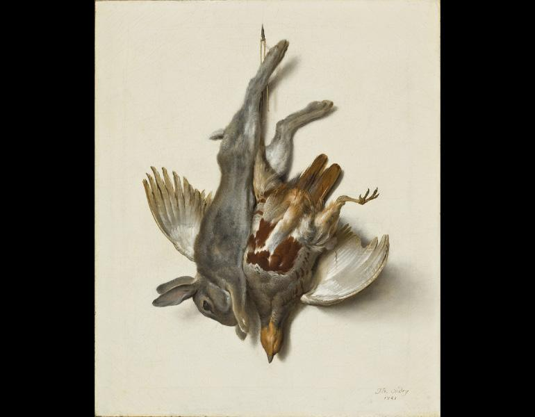 A Young Rabbit and Partridge Hung by the Feet, 1751. Jean-Baptiste Oudry (French, 1686–1755). Oil on canvas; 55.7 x 46.4 cm. Allen Memorial Art Museum, Oberlin College, Oberlin, Ohio, Mrs. F. F. Prentiss Fund and Special Acquisitions Fund 1982.47