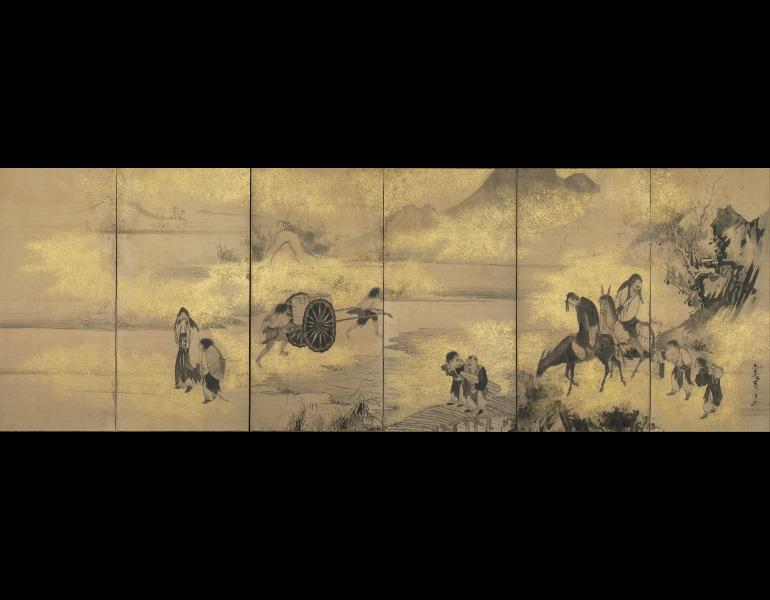 The Eight Immortals of the Wine Cup, later 1700s. Soga Shohaku (Japanese, 1730–1781). One of a pair of six-fold screens, ink and cut-gold foil on paper; 120 x 352.2 cm (pair). John L. Severance Fund 1976.11.1