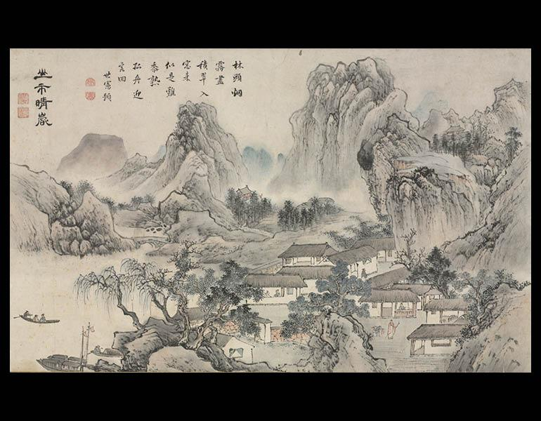 One of Eight Views of Xiao and Xiang Rivers, 1788. Tani Buncho (Japanese, 1763–1840). Section of a handscroll mounted as hanging scroll, ink and color on paper; 29.5 x 49 cm (image). Andrew R. and Martha Holden Jennings Fund 1980.188.1