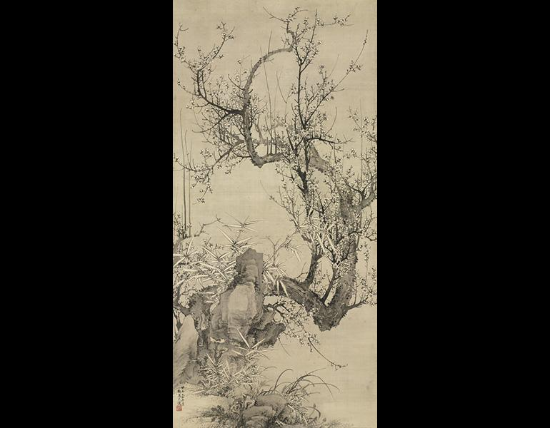 White Prunus, 1834. Yamamoto Baiitsu (Japanese, 1783–1856). Hanging scroll, ink on silk; 172.4 x 79 cm (image). Mr. and Mrs. William H. Marlatt Fund 1975.93