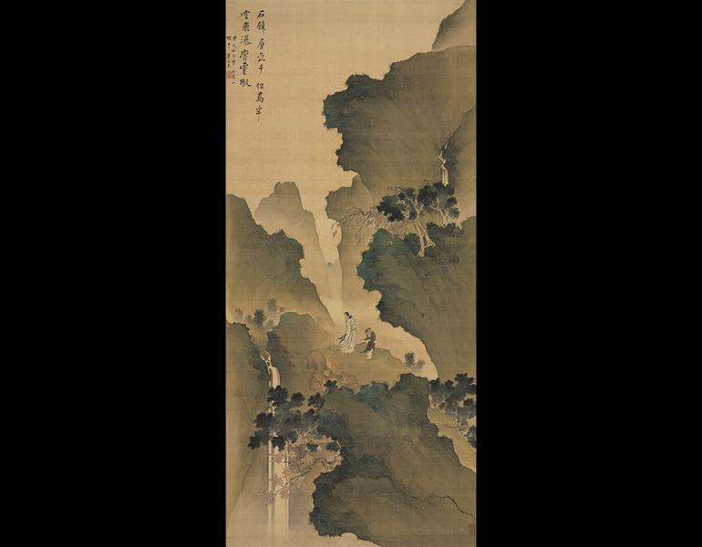 Watching a Waterfall, 1790. Tani Buncho (Japanese, 1763–1840). Hanging scroll, ink and color on silk; 112.5 x 51.1 cm (image). John L. Severance Fund 1972.16
