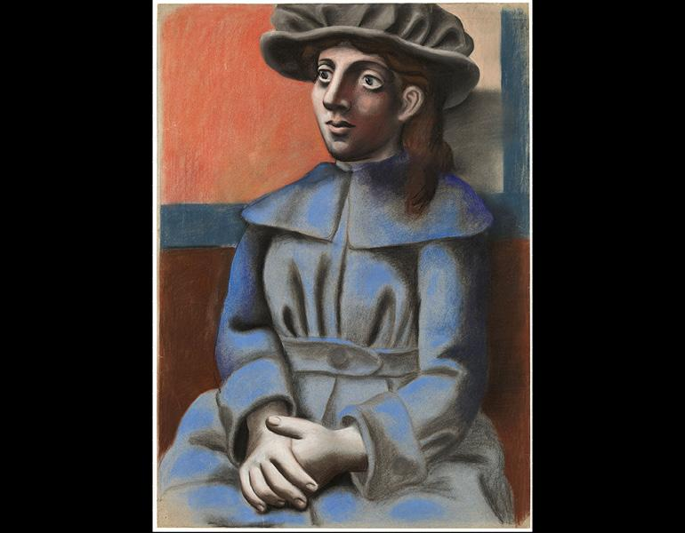 Girl in a Hat with Her Hands Clasped