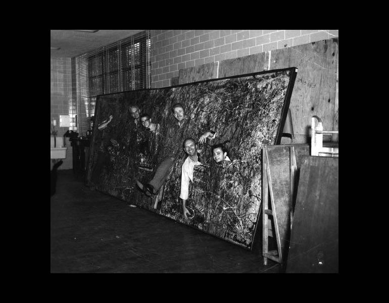 Staff destroying a rejected and abandoned May Show entry, per museum policy, ca. 1965. Photograph Collection, CMA Archives.