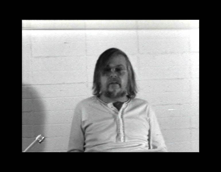 Baldessari Sings LeWitt (still), 1972. John Baldessari (American, born 1931). Black-and-white video, sound; 12:50 min. Courtesy of the artist and Electronic Arts Intermix (EAI), New York.