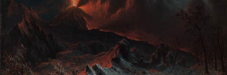 Mount Vesuvius at Midnight (detail), 1868. Albert Bierstadt (American, 1830–1902). Oil on canvas; 42.60 x 60.70 cm. The Cleveland Museum of Art, Gift of S. Livingstone Mather, Philip Richard Mather, Katherine Hoyt (Mather) Cross, Katherine Mather McLean, and Constance Mather Bishop 1949.541