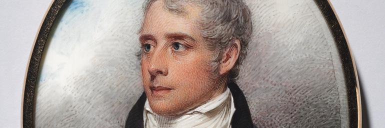 Portrait of Sandford Peacocke (detail), 1801. William Wood (British, 1769–1810). Watercolor on ivory; 8.6 x 7.3 cm. The Edward B. Greene Collection 1942.1159.