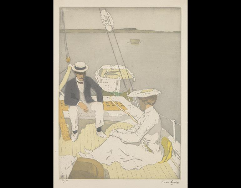 Yachting, 1903. Raoul du Gardier (1871–1952). Color aquatint and etching on wove paper; 13 9/16 x 9 5/8 in. Signed and numbered 32/50 in graphite. Valued at $2,500. Donated by Armstrong Fine Art. Complimentary framing courtesy of Art Etc.