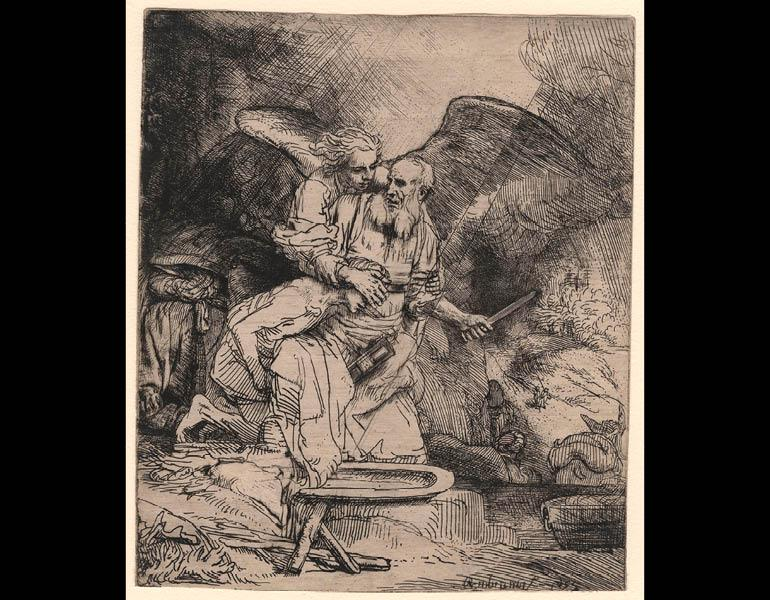 Abraham's Sacrifice, 1655. Rembrandt van Rijn (Dutch, 1606–1669). Etching and drypoint on paper; 15.6 x 13.1 cm. The Morgan Library & Museum, Acquired by J. Pierpont Morgan, 1905. Photo: Graham S. Haber, 2011
