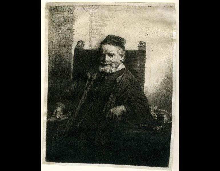 Jan Lutma, Goldsmith, 1656. Rembrandt van Rijn (Dutch, 1606–1669). Etching and drypoint on vellum; 19.6 x 15 cm. The Morgan Library & Museum, Acquired by J. Pierpont Morgan, 1905. Photo: Graham S. Haber, 2011